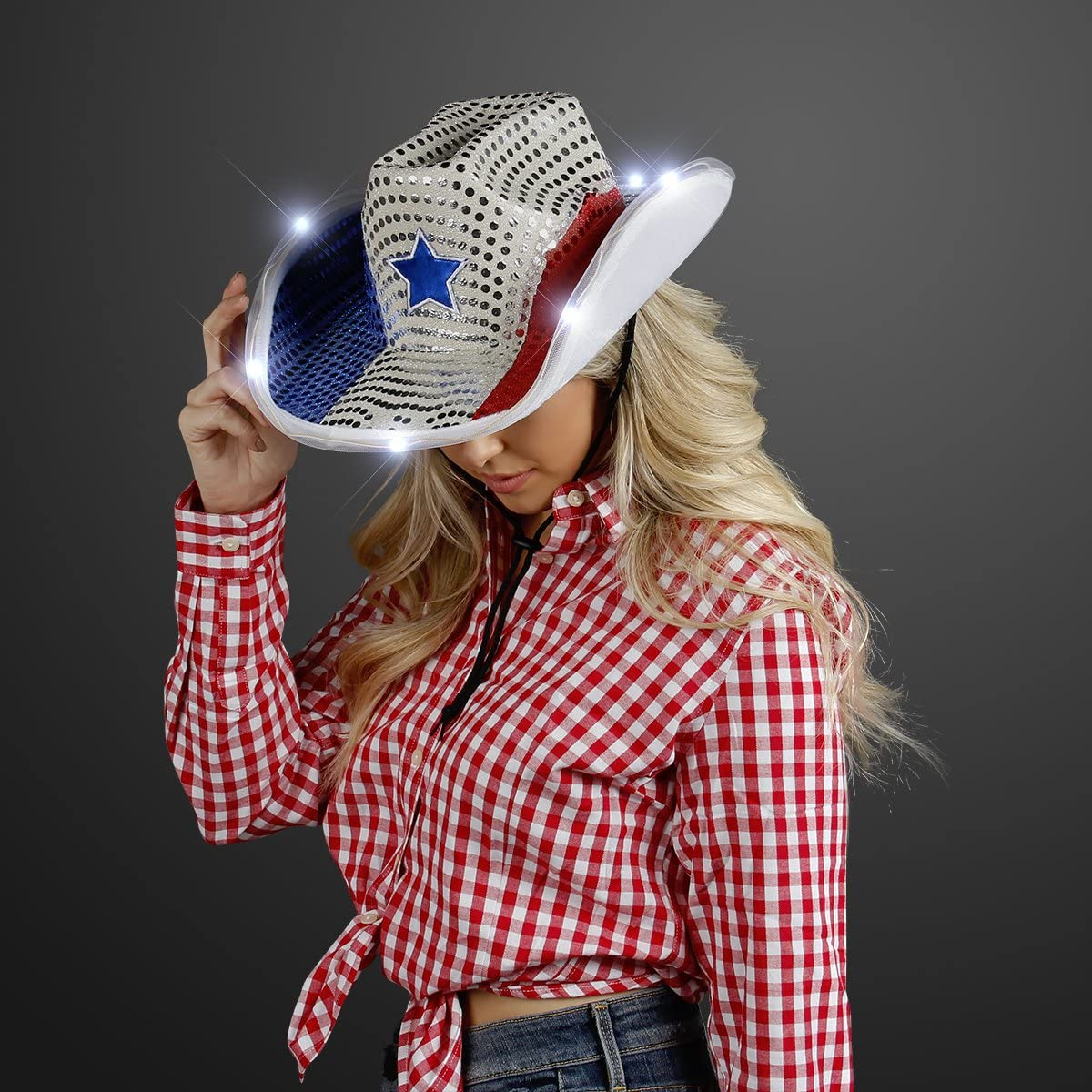 Details about  /Led Hat Cowboy Party Cap RED Sequin Flashing Light Up Party Hat Dancer Favors