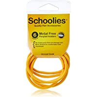 Schoolies Hair Accessories #SC666 Metal Free Ponytail Holders 6 Pieces, Unreal Gold