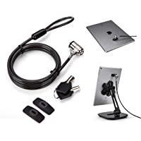AboveTEK Universal Tablet Lock Security Cable, 2 Keys Durable Steel iPad Locking Kit w/Adhesive Anchors, Anti Theft Hardware Protection for iPhone Mobile Notebook Computer Monitor Mac Book Laptop