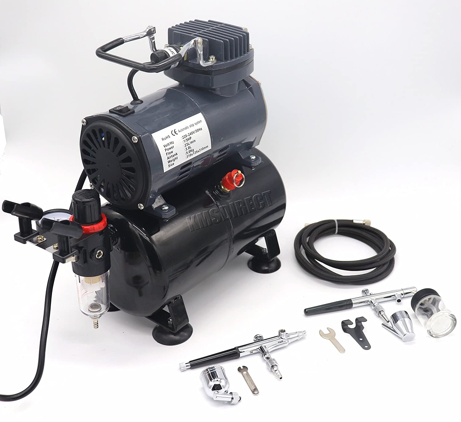 Airbrush Kit AS186 AS 186 with Compressor with Tank with 2 x Double Action Airbrushes and Hose KMS