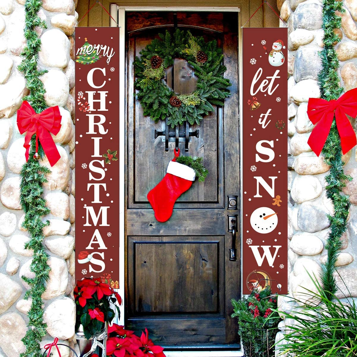 Amazon Com Srgarh Merry Christmas Porch Signs Banner Holiday