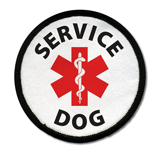 SERVICE DOG ADA Assistance Animal Medical Alert 2.5 inch Black Rim Sew-on Patch