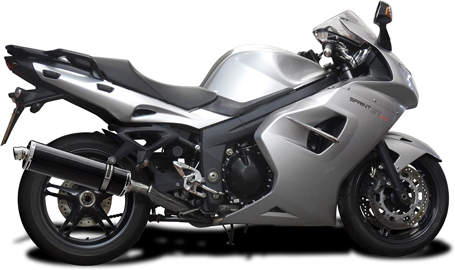 Delkevic Aftermarket Slip On compatible with Triumph Sprint GT 18 Carbon Fiber Oval Muffler Exhaust 11-14