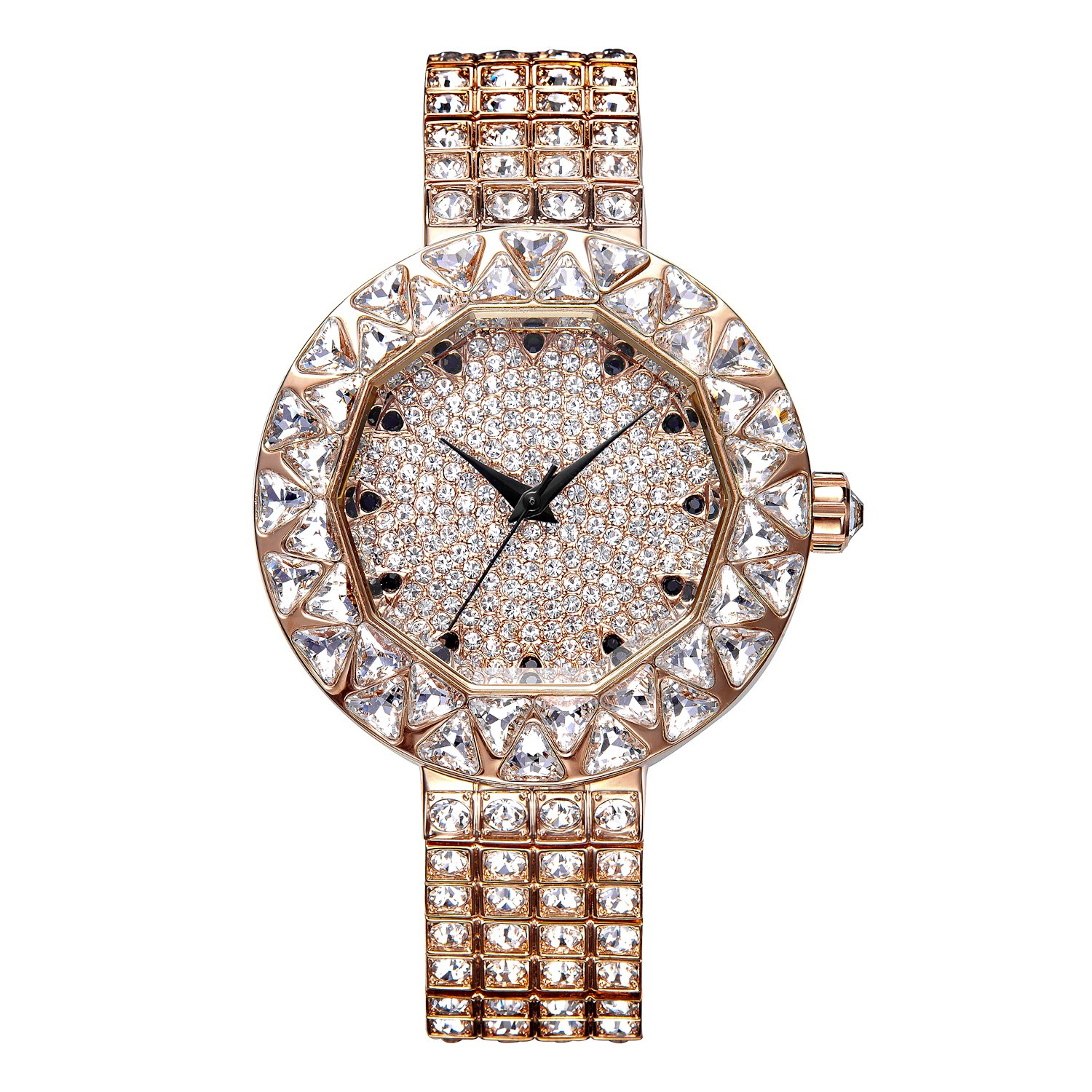 Matisse Lady Full Crystal LÜnette & Zifferblatt Stahl Fashion wristwatch- Gold