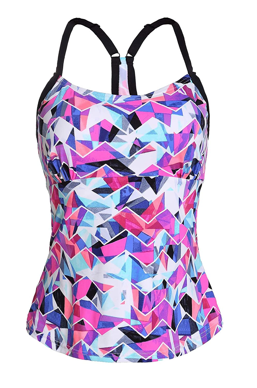 0a5724bac3a27 Charmleaks Womens Push Up Rash Guard Tankini Tops Swimsuits Tankinis  Swimwear Two-Piece Tops The Modest rainbow bandeau swim top could easily  pair with any ...