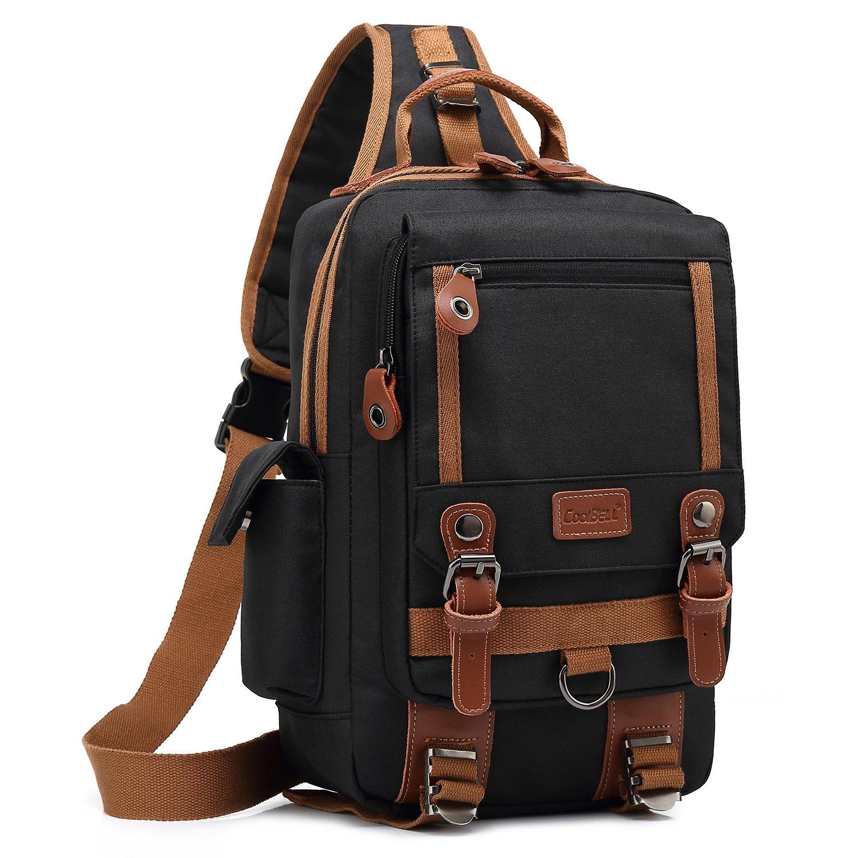 DTBG 13 inches Messenger Bag Sling Backpack Canvas Shoulder Bag Waterproof Chest Pack OutdoorCross Body Bag One Strap Backpack Daypack for Men & Women (Black)