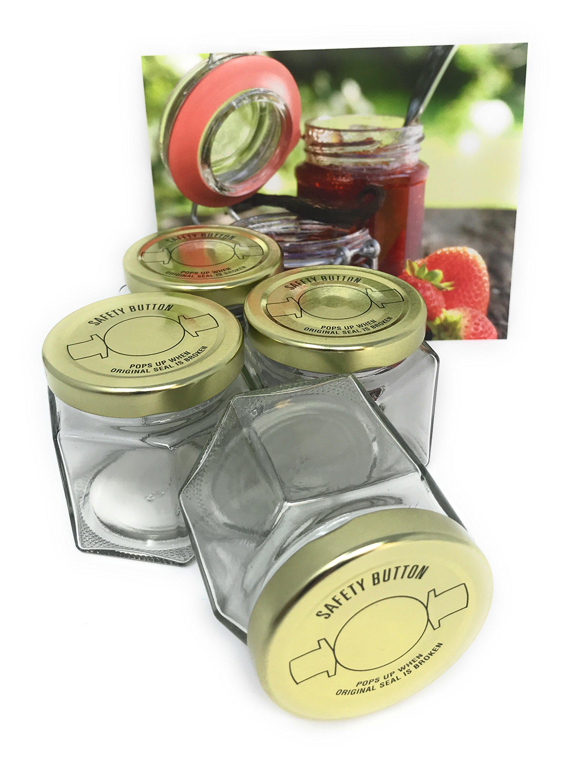 Strawberry Preserves Canning Kit Set of 4 Jars 3oz Recipe Card