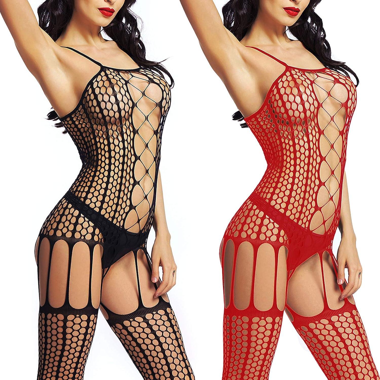 LOVELYBOBO 2-Pack Plus Size Womens Lingerie Bodysuits Fishnet Mesh Bodystockings Bodysuits (Black+Red)