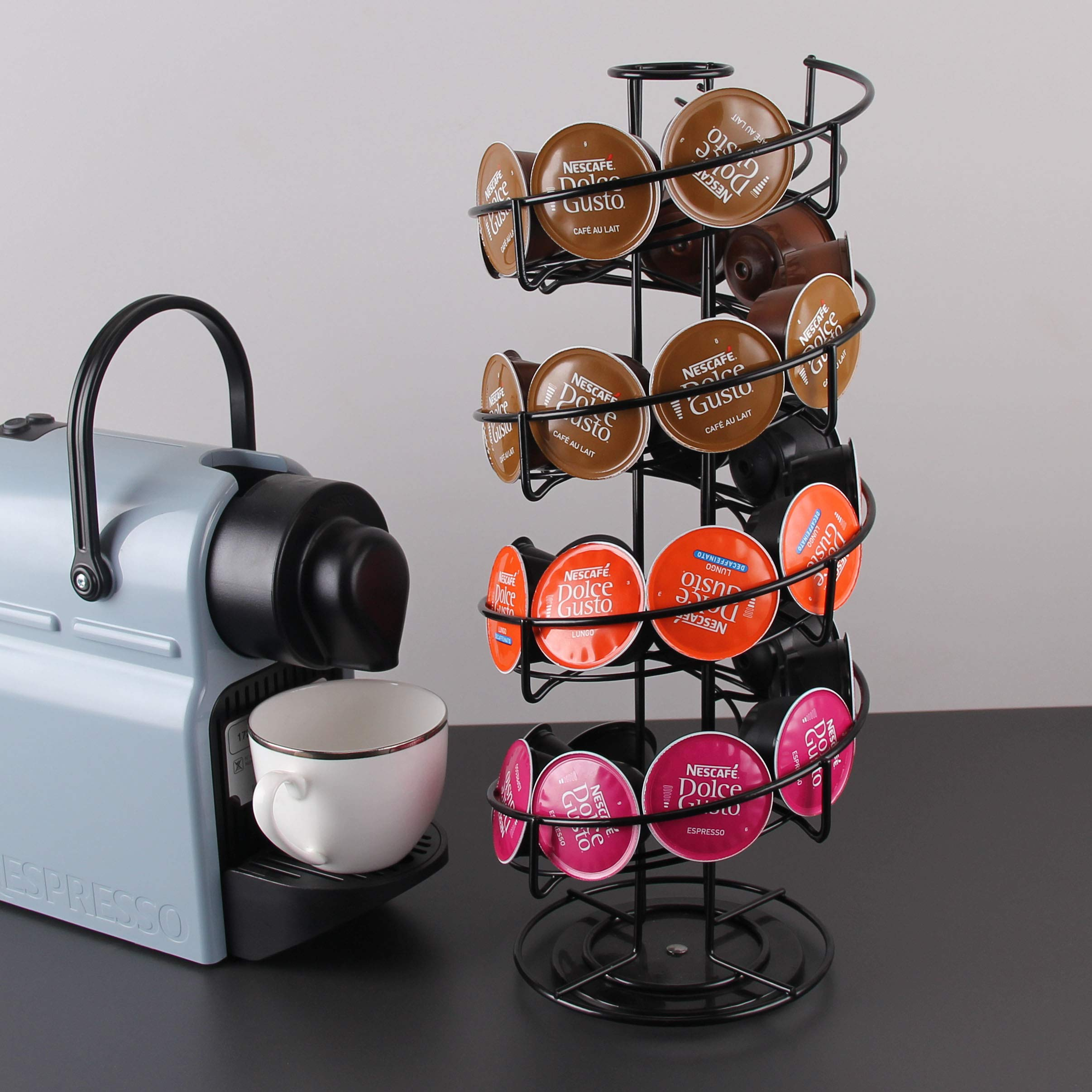Anles 360 Degree Rotating Coffee Pod Holder Stand - Coffee Storage Carousel for K-Cup Pods - 30 Pod Capacity (Black)