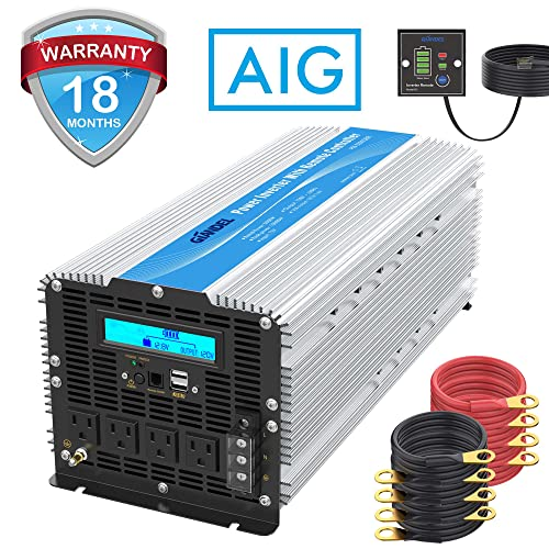 5000Watt Heavy Duty Power Inverter DC 12volt to AC 120volt with LCD Display 4 AC Sockets Dual USB Ports Remote Control for Truck RV and Emergency