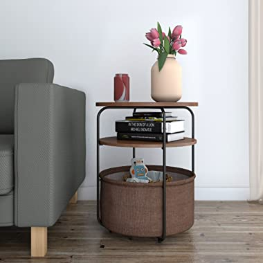 Lifewit 3-Tier Round Side Table End Table Nightstand with Storage Basket, End Table for Small Condo/Apartment Living,Modern Collection, Espresso, 16.5 × 16.5 × 20 inch