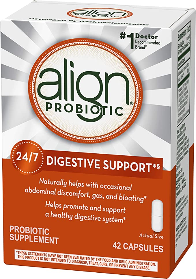 Amazon Com Align Probiotic 1 Doctor Recommended Brand Helps With Occasional Gas Abdominal Discomfort Bloating To Support A Healthy Digestive System 24 7 42 Capsules Health Personal Care
