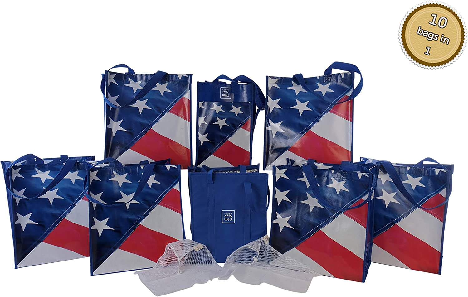 10-in-1 Reusable Grocery Bag & Produce Bags Organizer Set | Stars & Stripes / 6x Reusable Shopping Bags with handles, 2x Mesh Produce Bags, Insulated Freezer Bag, 6-Bottle Wine Carrier/Tote