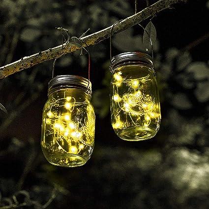 Mason Jar luz Solar 20LED lámparas a Prueba de Agua del jardín Colgante de Cristal,