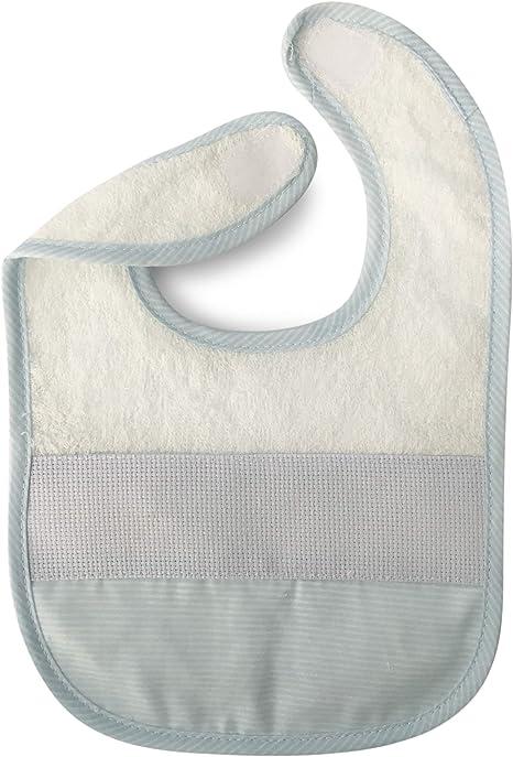Babero de algodón para bebé niña con cierre de cordones o correa y tela aida para poder bordar el nombre 1 pieza A Righe Azzurro: Amazon.es: Bebé