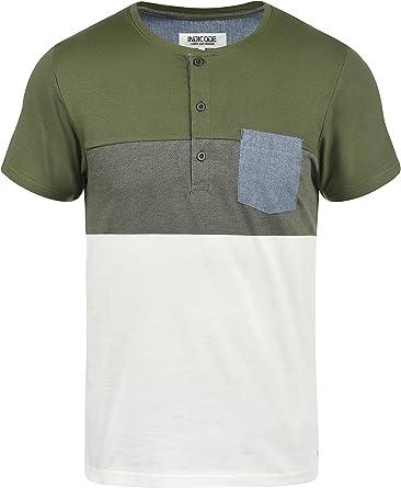 Indicode Albert Camiseta Básica De Manga Corta T-Shirt para Hombre con Cuello Grandad De 100% algodón: Amazon.es: Ropa y accesorios