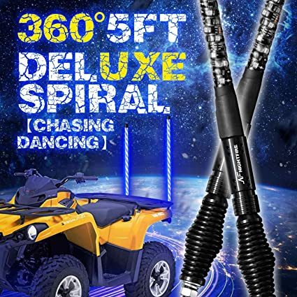 Off Road ATV Boat RZR Sand Nirider 2PCS 5ft LED Whip Lights with Flag Pole Remote Control Spiral RGB Chase Light Offroad Warning Lighted Antenna LED Whips for UTV Can-am Truck Buggy Dune Jeep