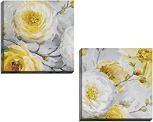 Gango Home Décor Beautiful Gray and Yellow Flower and Bud Print Set by Lisa Audit; Floral Decor; Two 16x16in Hand-Stretched Canvases
