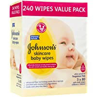 Johnson's Baby Wipes Skincare Fragrance Free (Pack of 3x80)