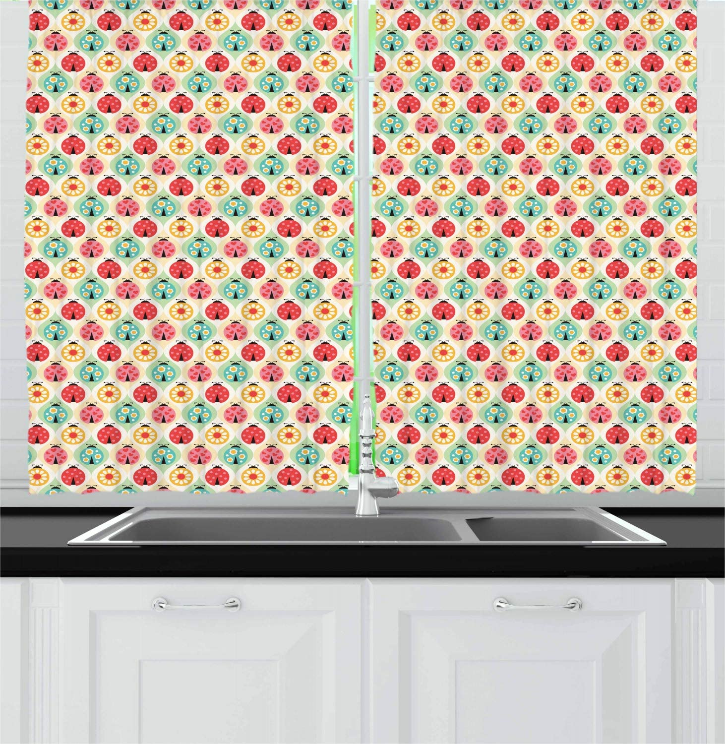 Ambesonne Ladybug Kitchen Curtains Cartoon Ladybug Insect Pattern Ornamented With Floral Petal Motifs Hearts And Dots Window Drapes 2 Panel Set For Kitchen Cafe Decor 55 X 39 Multicolor Home