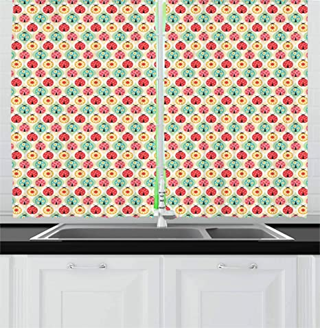 Amazon Com Ambesonne Ladybug Kitchen Curtains Cartoon Ladybug Insect Pattern Ornamented With Floral Petal Motifs Hearts And Dots Window Drapes 2 Panel Set For Kitchen Cafe Decor 55 X 39 Multicolor Home