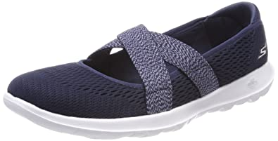 Skechers Damen Go Walk Lite Slip on Sneaker, Blau (Navy), 35.5 EU