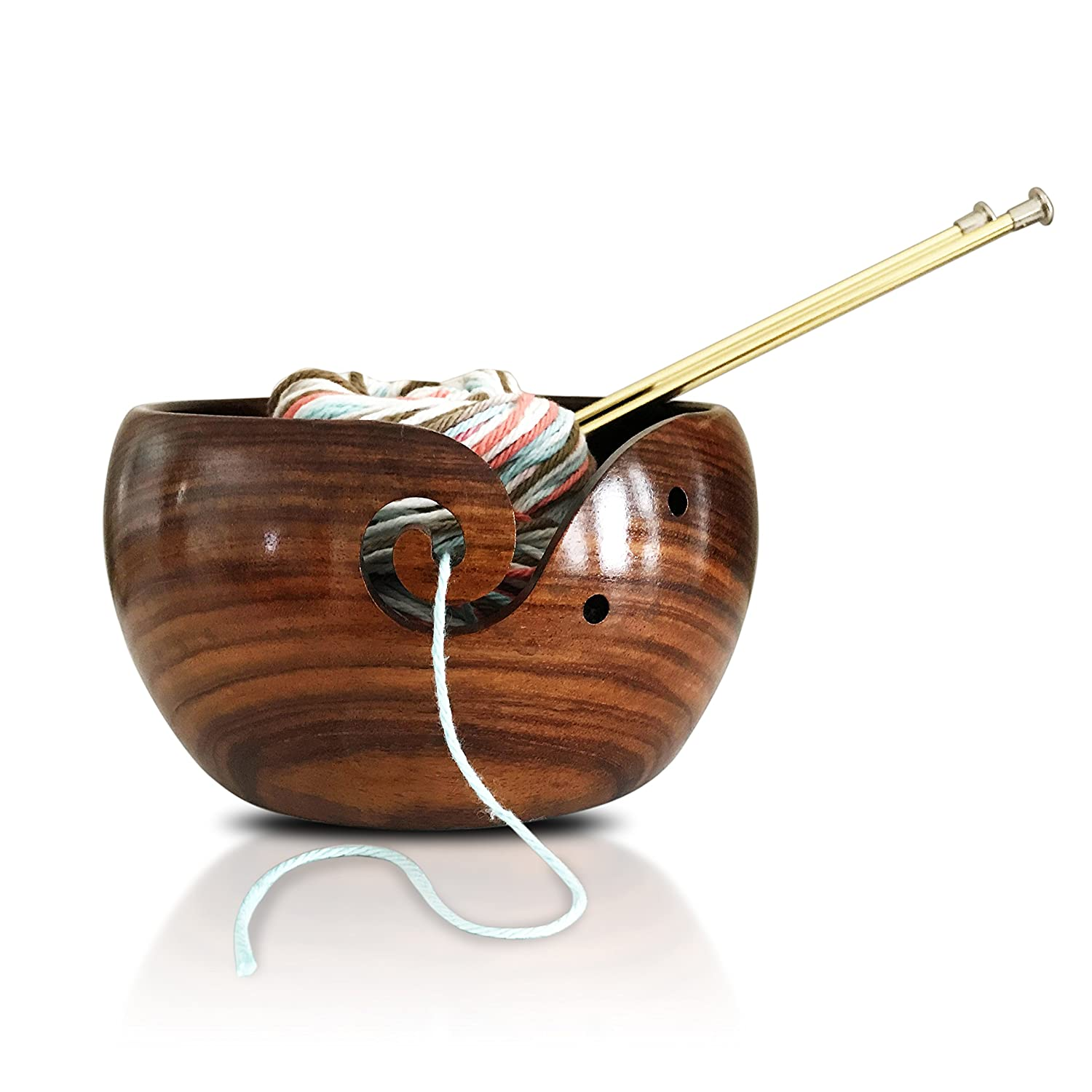 Extra Large Wooden Yarn Bowl 7x4 Handcarved from Indian Rosewood