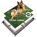 MEEXPAWS Extra Large Dog Artificial Grass Litter Box Toilet with Tray   45×35 inches  2 Sturdy Grass Replacement Set  Rapid D