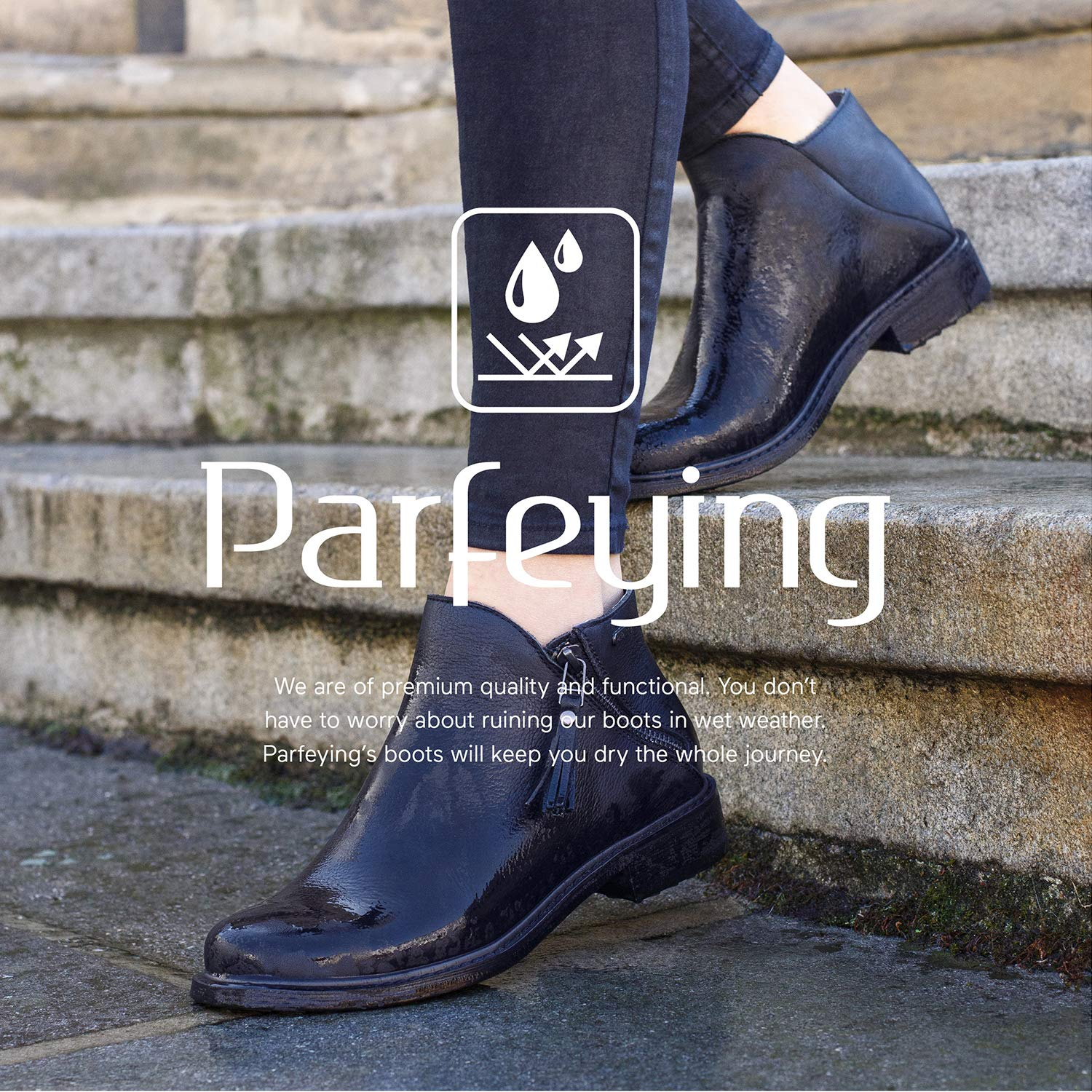 Parfeying Ankle Boots L10138 Pig Leather Lining Waterproof Booties Non-Slip Rubber Sole Womens Casual Shoes