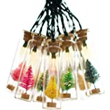 Shinar Solar Lights Glass Jar warmwhite LED with 15 Multicolor Christmas Tree Solar String Lights Lanterns for Outdoor Garden