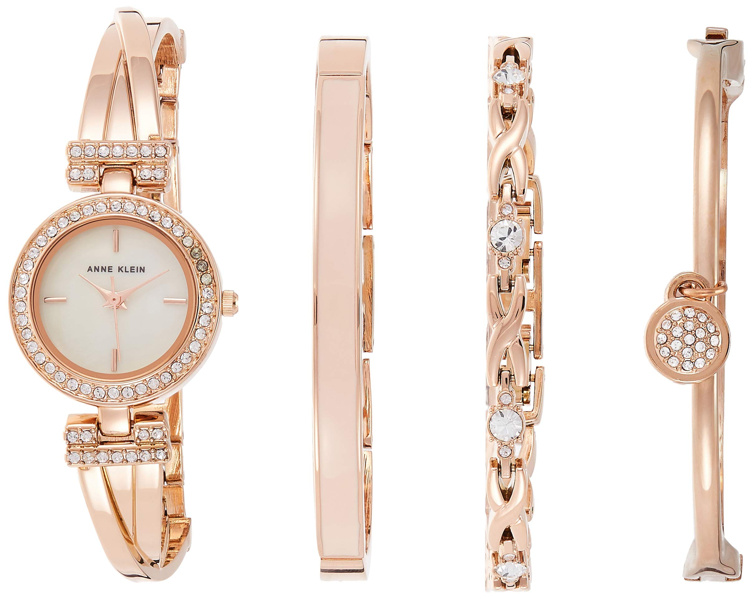 Anne Klein Women's AK/2238RGST Swarovski Crystal-Accented Rose Gold-Tone Bangle Watch and Bracelet Set by Anne Klein