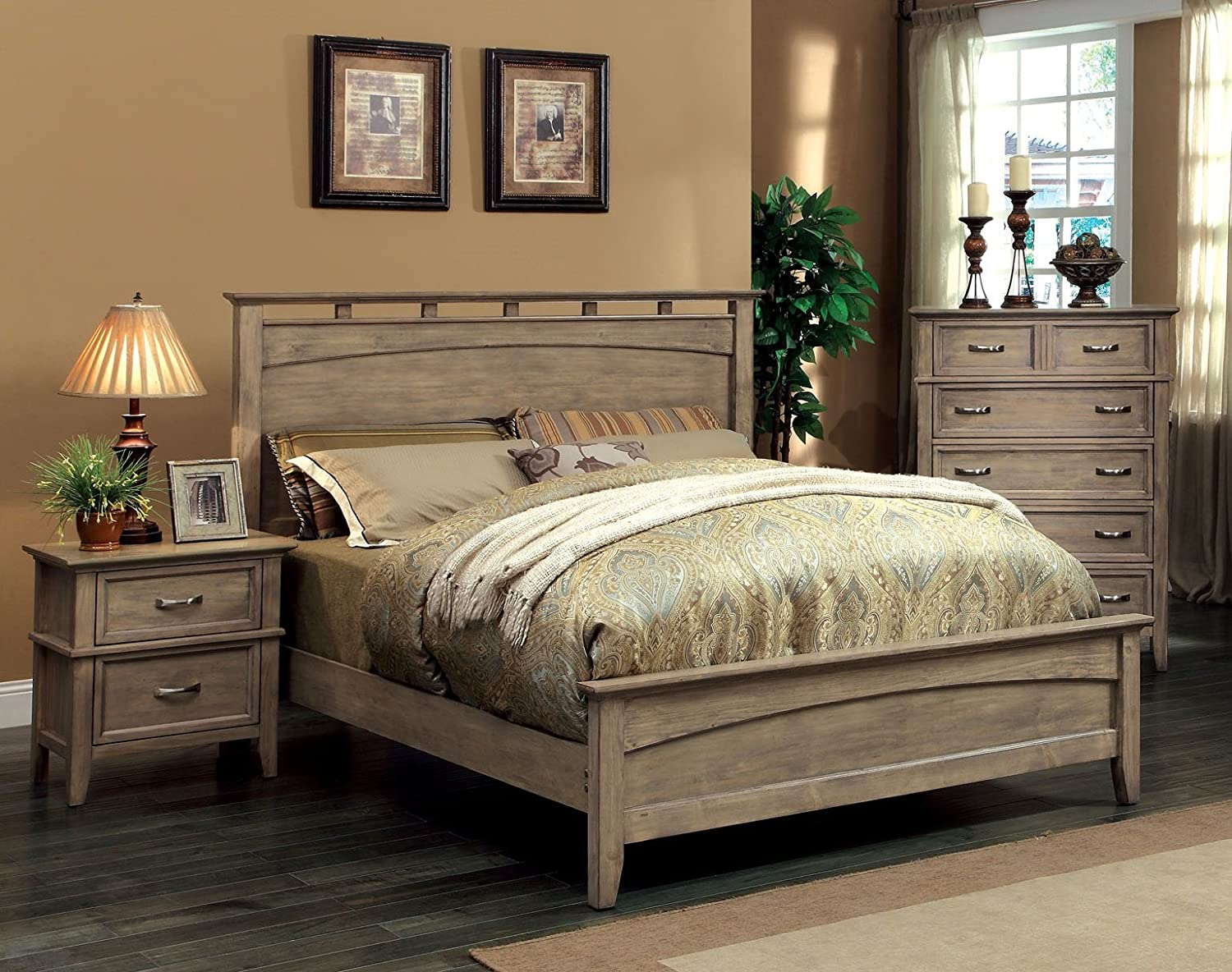 Amazon.com: Furniture of America Vine II Rustic Style Solid Wood Bed ...