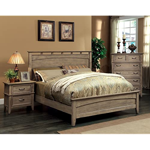 Beau Furniture Of America Vine II Rustic Style Solid Wood Bed, Queen, Reclaimed  Oak