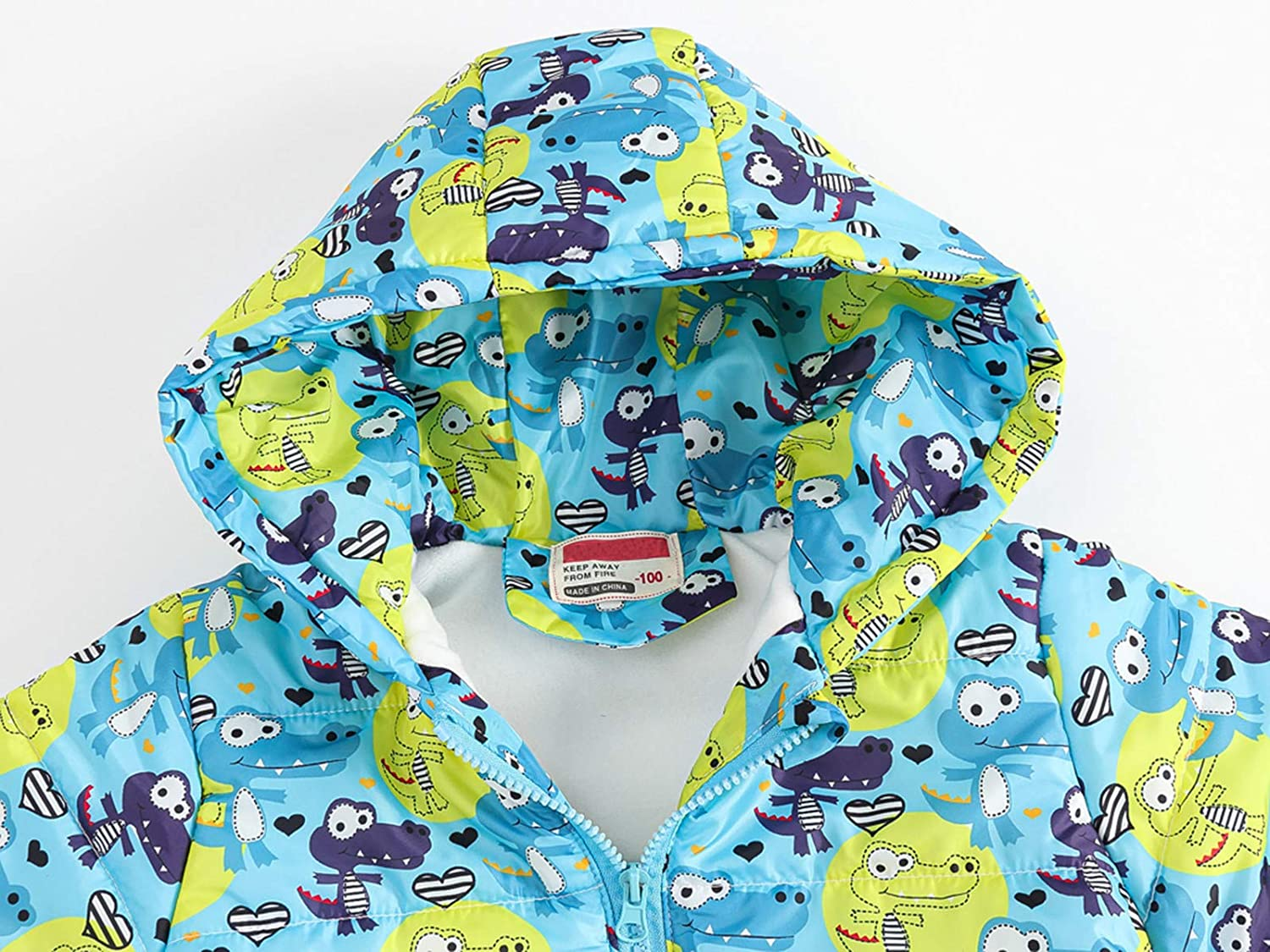 Childrens Cotton Clothing Warm Waterproof Lightweight Jacket Printed Hooded Outdoor Autumn and Winter Jacket