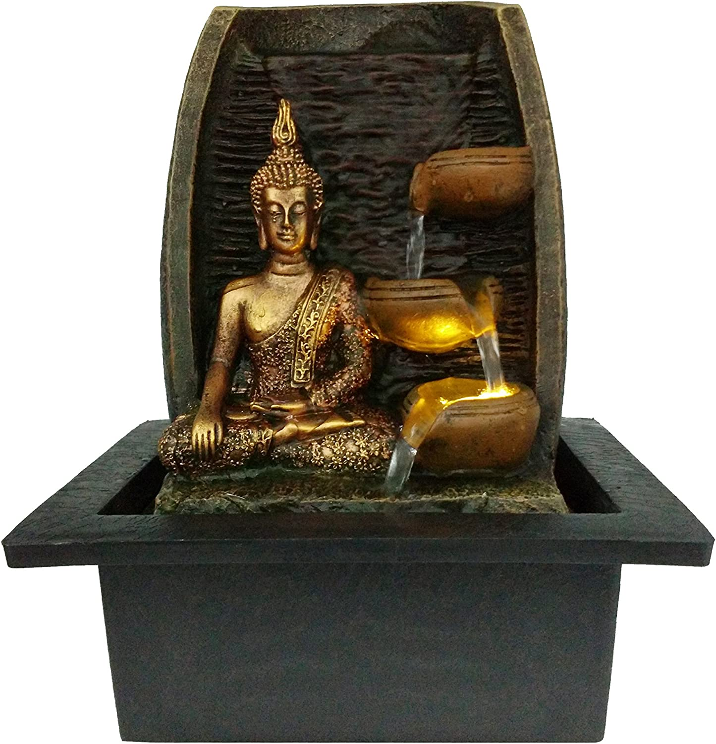 Bibiana Golden Buddha With Water Cups And Led Light Indoor Water Fountain 21cm X 18cm X 25cm Amazon Co Uk Kitchen Home