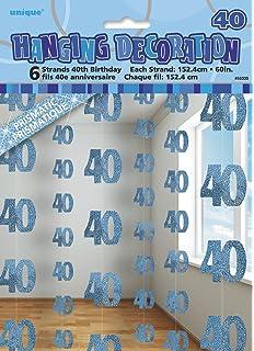 Eleganza 40th Birthday Bunting Foil Blue 10 X 1 Cm Amazonco