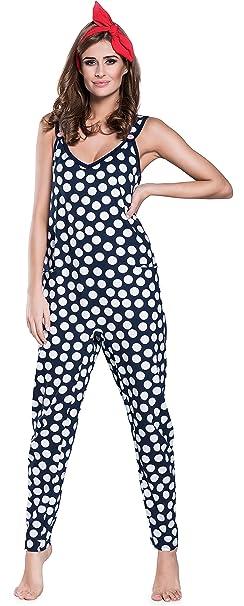 Italian Fashion IF Pijama Entero para Mujer IFS18009 (Azul Oscuro, S)