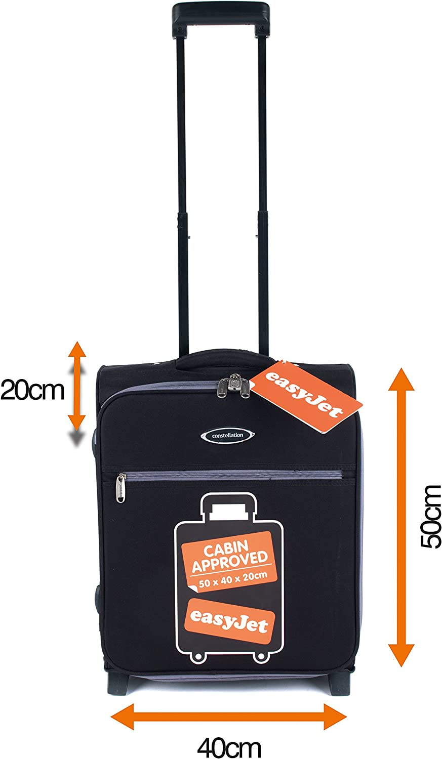 Black//Grey Constellation LG00321BGSTK Easyjet Approved Maximum Capacity Cabin Case