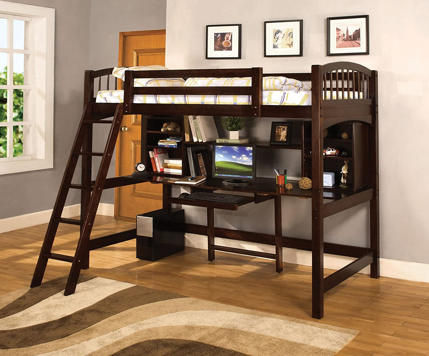 gray dark stairs bunk desk loft wooden comfortable and beds with kids for