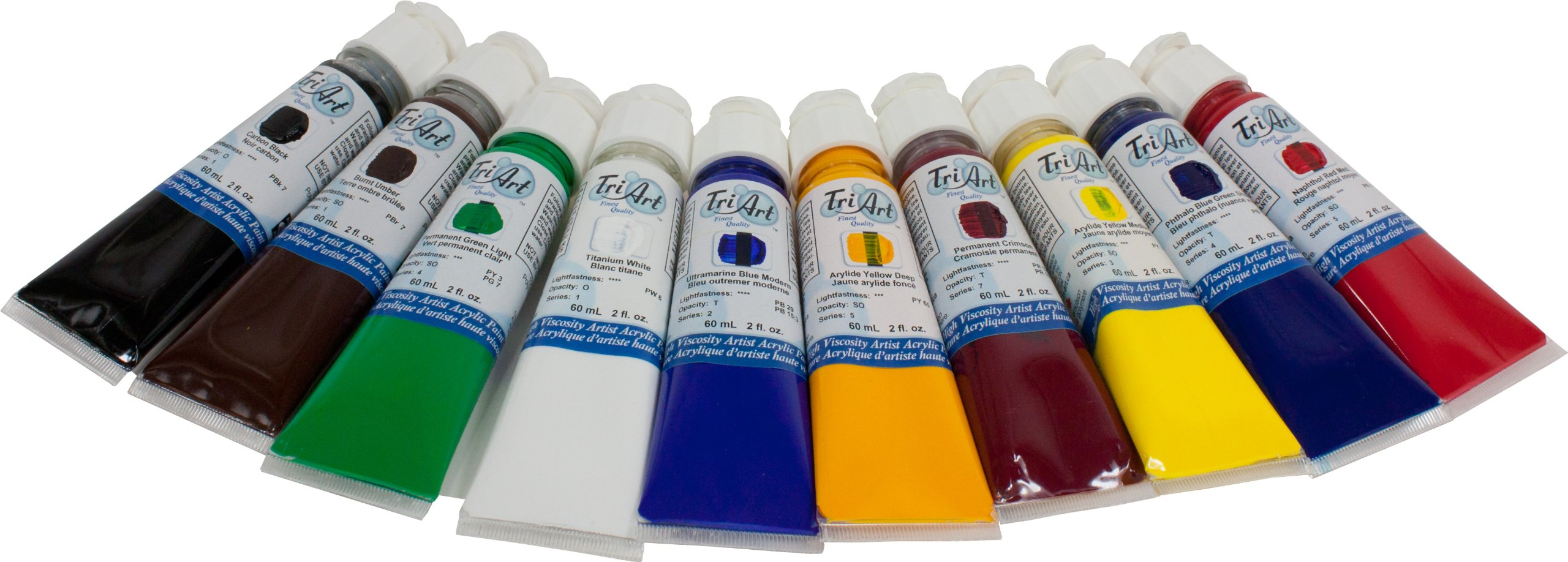 Tri-Art High Viscosity Paint, 10 by 60ml, Professional-FQ Acrylic Set