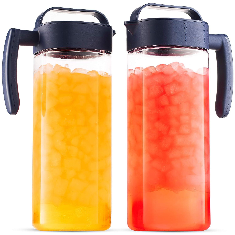 Komax Set of 2 Plastic Pitcher with lid   2.1-quart / 67.2-oz Tritan Plastic Water Pitchers   Hot & Cold Drink Pitcher   Juice, Lemonade, Sangria, Milk, and Iced Tea Pitcher   BPA Free & Spill-proof
