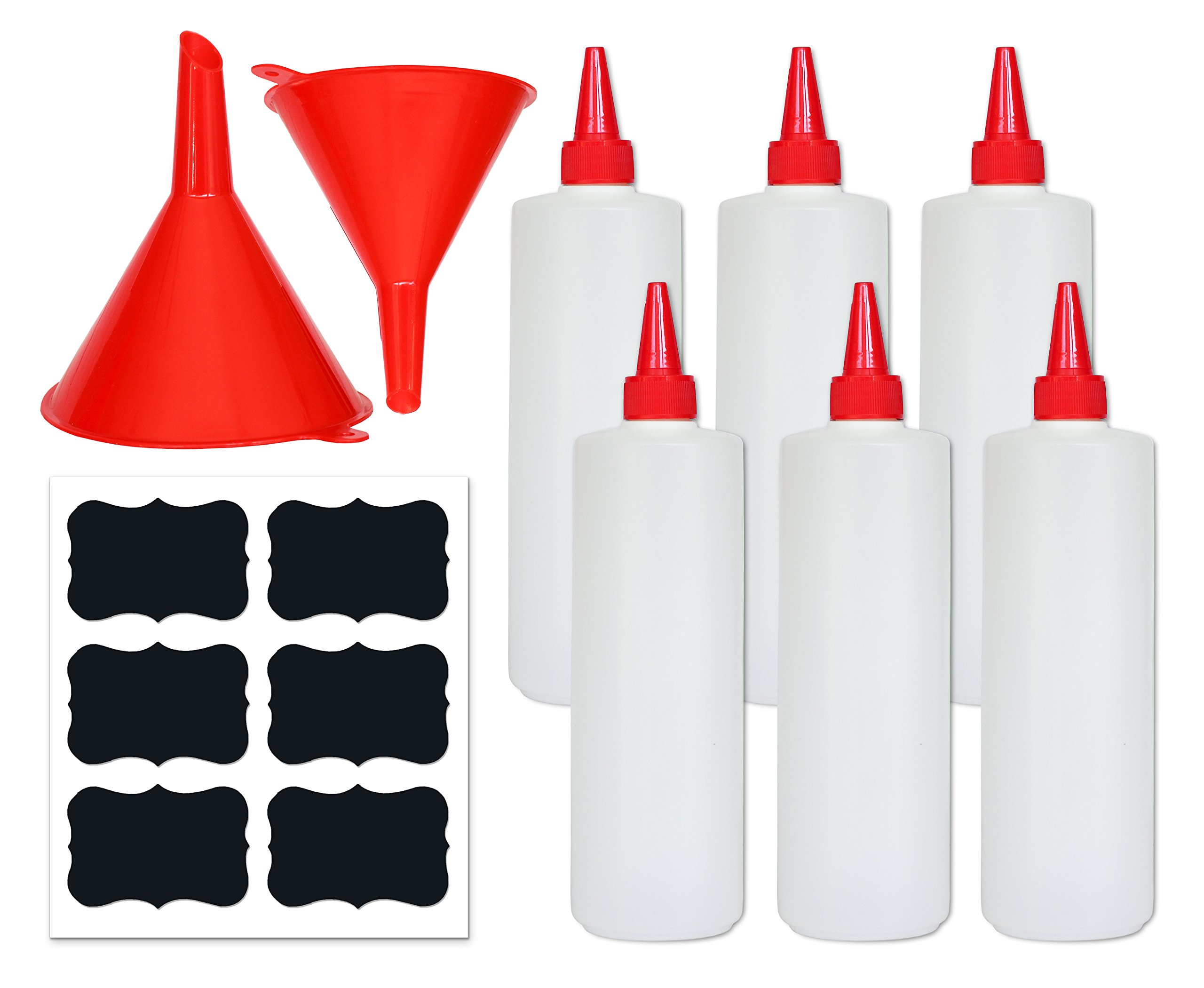 Premium Plastic Squeeze Squirt Bottles for Sauces with Leak-Proof Cap (16 oz, 6 pack) with Writable Exterior and Funnels | Ideal for Condiments, Ketchup, BBQ, Dressing, Paint, Workshop and Pancake Art
