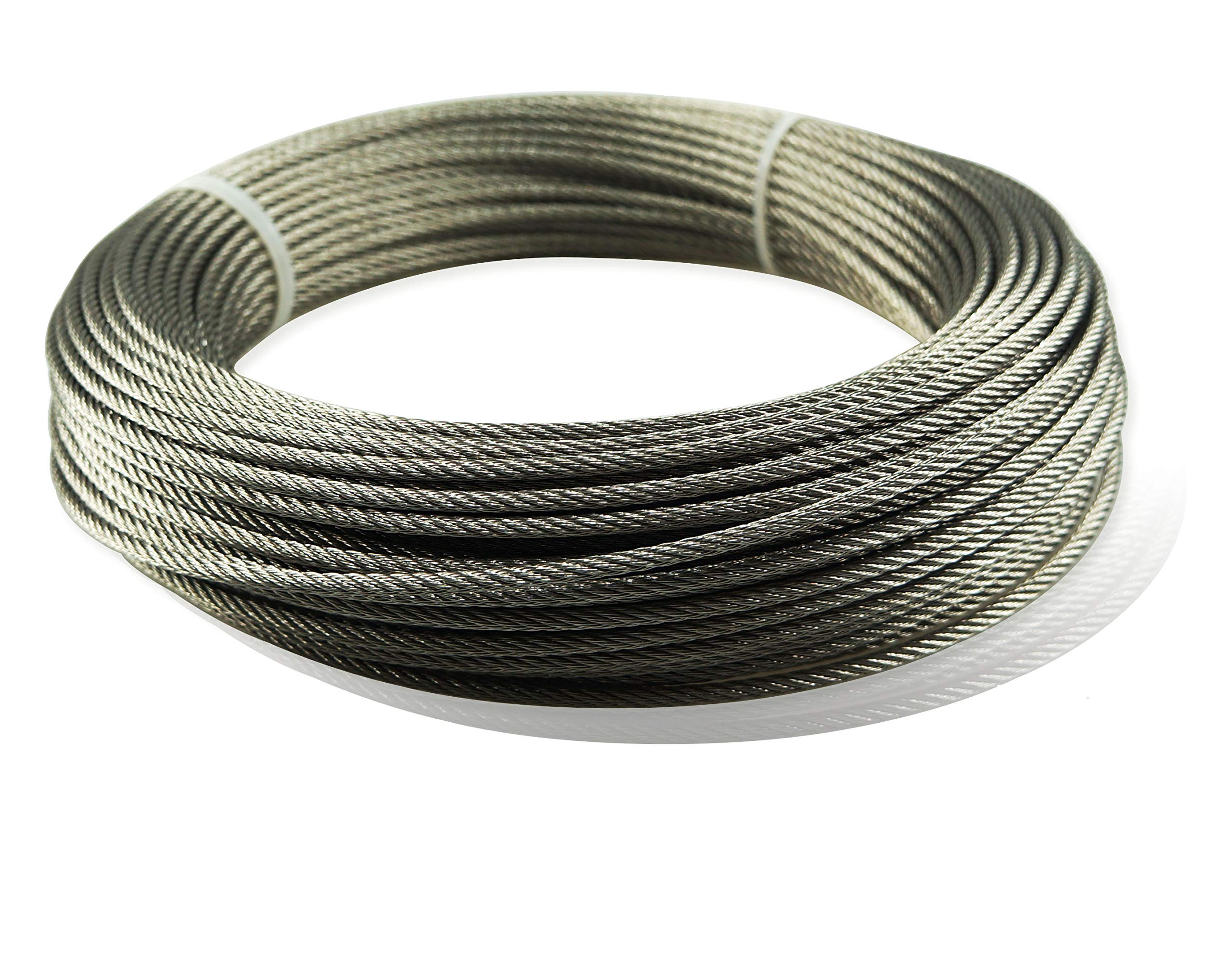 Muzata Stainless Aircraft Steel Wire Rope Cable for Railing,Decking, DIY Balustrade, 1/8Inch,7x7,165Feet WR01,Series WP1 by Muzata