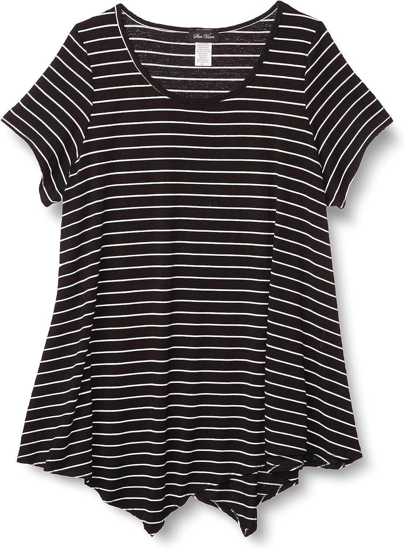 Star Vixen Womens Plus-Size Short SLV Flattering Hanky Hem Rayon//Span Knit Top Blouse