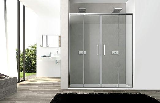 Puerta de ducha gotas modelo Star Cristal Templado de 6 mm Doble puerta Corredera con Apertura Central Central: Amazon.es: Bricolaje y herramientas