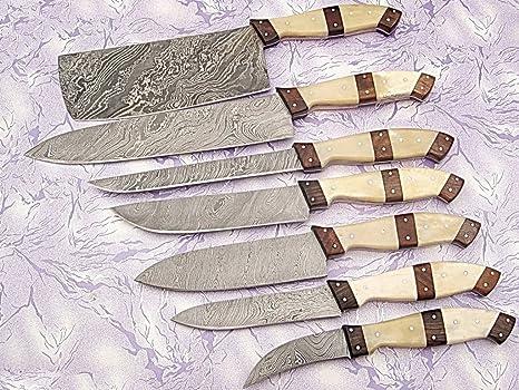 Mango De Hueso Cuchillo De Chef De Cocina Acero De Damasco Set 7 Pcs A E 07 C Bwn Kitchen Dining