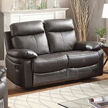 ac pacific ryker collection upholstered leather reclining loveseat with dual recliners dark brown