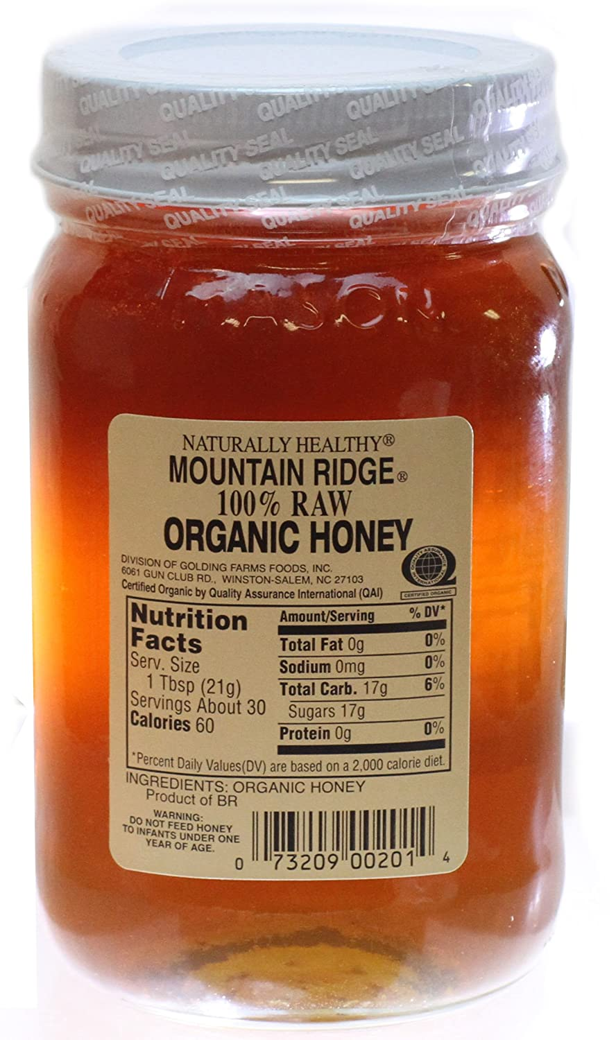 USDA Organic Mountain Ridge Honey - 22 oz of 100% Pure Raw Honey in Glass  Mason Jar