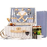 IceGo Romantic Wicker Picnic Basket for 2 Persons, Special White Washed Willow Hamper Set with Big Insulated Cooler…