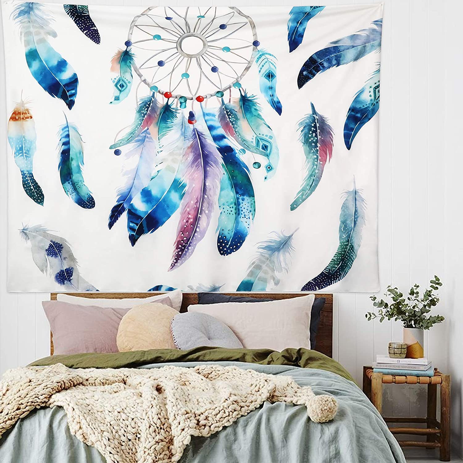 Bohemian Tapestry Aesthetic Wall Hanging - Dream Catcher Tapestries Colorful Psychedelic Feather Tapestry Boho Wall Art Decor for Bedroom Living Room Dorm(51.2 x 59.1 inches)